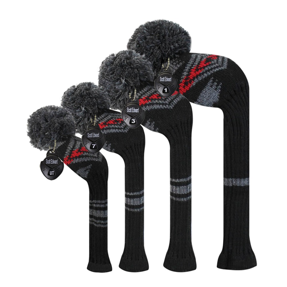 May Totem Style Knit Golf Headcover Set of 4 for Driver Wood Fairway Hybrid Rotating Number