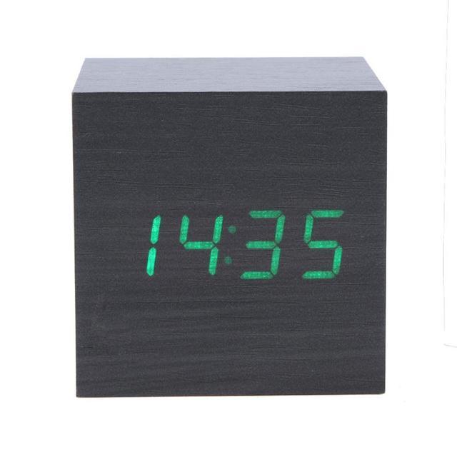 28c9f77a5 Creative LED Alarm Clock Cube Wooden Voice Control LED Digital Clocks  Electronic Snooze Backlinght Desktop Table Clocks