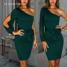 Green Party Dress Women Summer 2019 New One Shoulder Red Bodycon Sexy Dress Ladies Belt Cut Out Tunic Short Dresses For Women недорого
