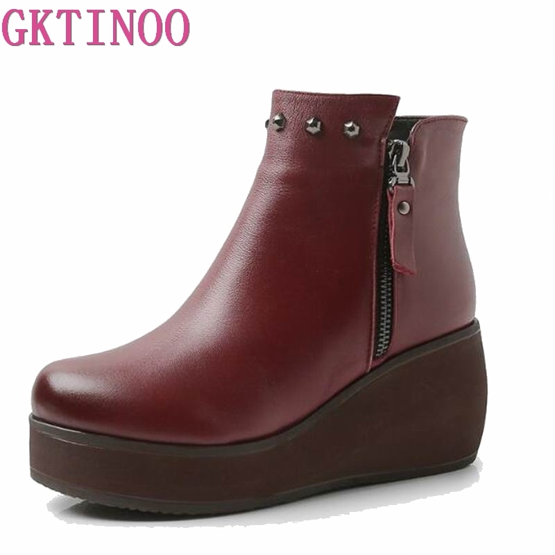 New Fashion genuine Leather Women Boots Winter Shoes Casual Moccasins Women Boots Wedges Shoes Handmade Shoes