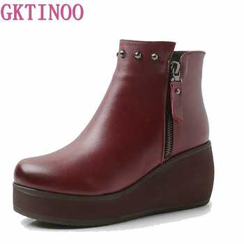 New Fashion genuine Leather Women Boots Winter Shoes Casual Moccasins Women Boots Wedges Shoes Handmade Shoes Woman Boots HY6574 - DISCOUNT ITEM  50% OFF All Category