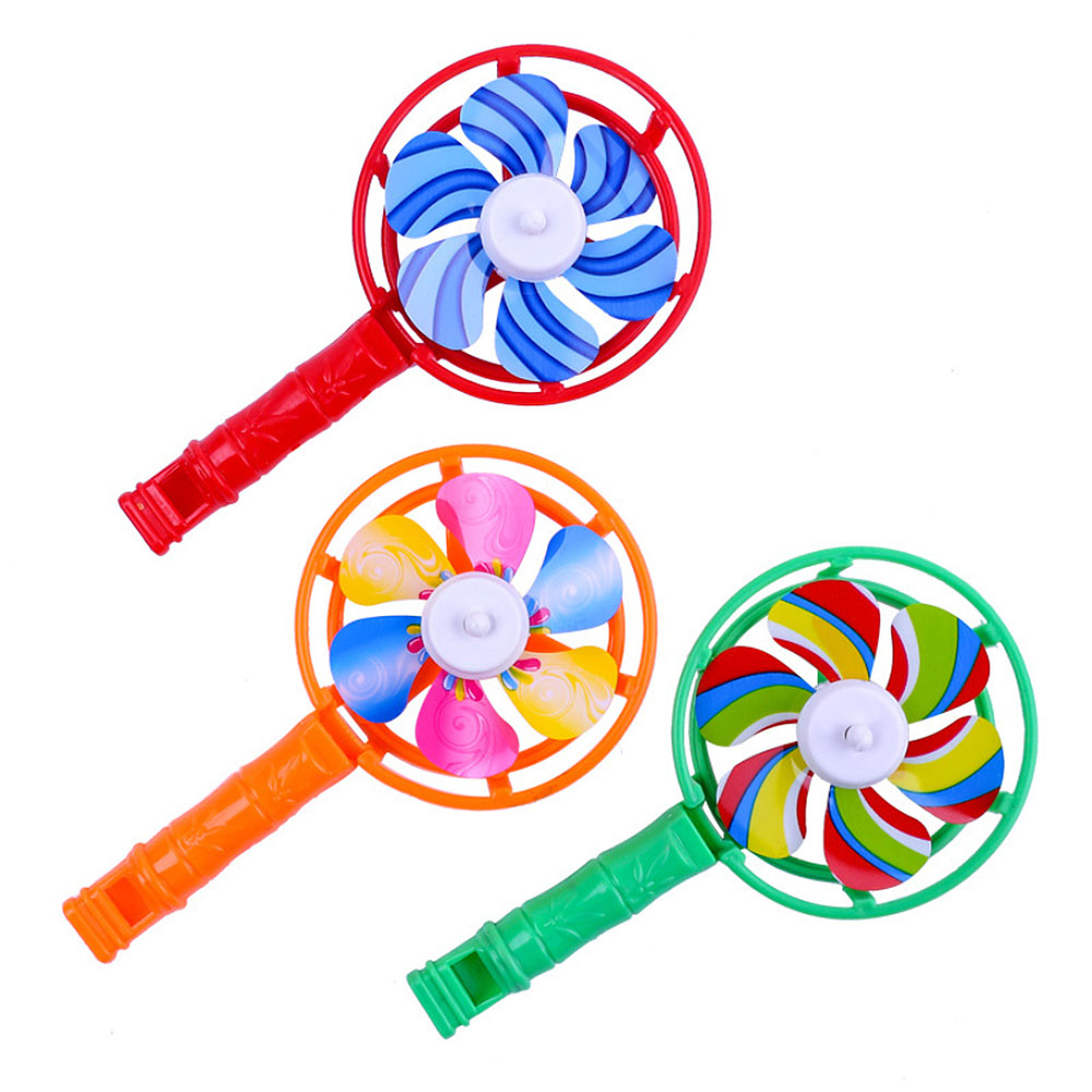 2019 Colorful Small Windmills Children Plastic Piece Windmill Whistling Handle Plastic Children Toys
