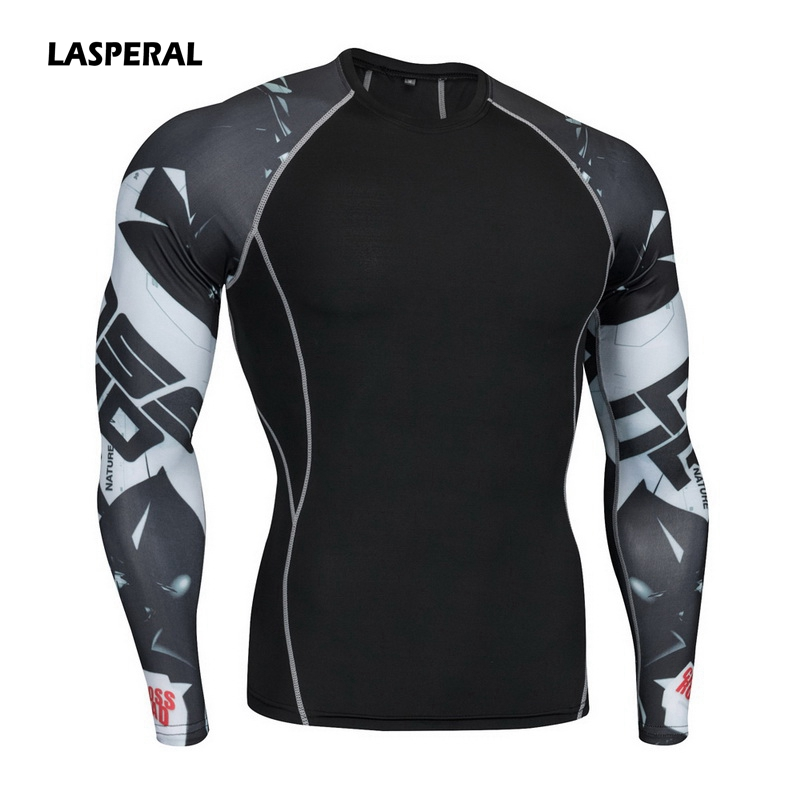 LASPERAL Mens Fitness Long Sleeve Rashguard T Shirt Bodybuilding Print Tight Compression Shirt Crossfit Gym Sports Running Top