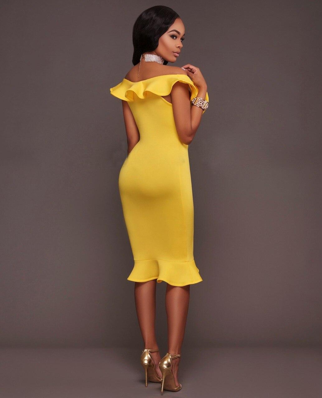 2017 Fashion Women Sexy Ruffles Dress Deep V-neck Slim Sleeveless Bodycon Dress Summer Party Yellow Casual Elegant Dresses 8