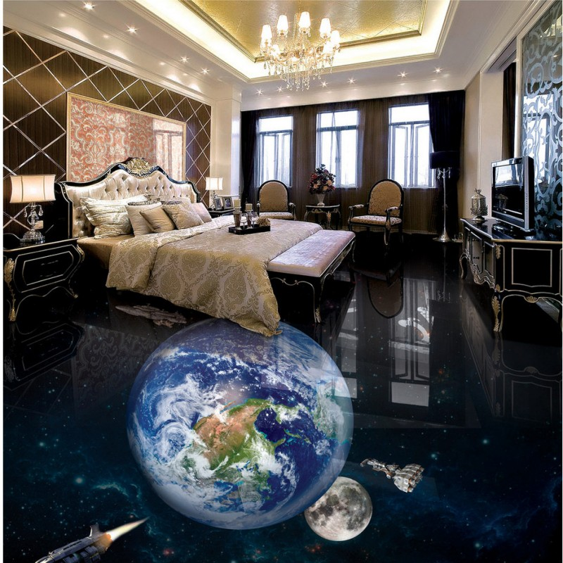 Free shipping waterproof flooring Earth 3D bathroom living room bedroom floor custom self-adhesive lobby photo wallpaper