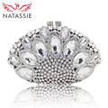NATASSIE Women Day Clutch  Bags Ladies Silver Evening Clutches Party Bag Female Wedding Purses