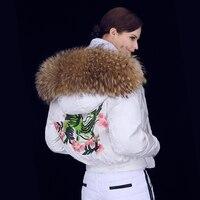 2017 Winter Jacket Women down jackets Women's short embroidery downs coat large Raccoon fur Hood baseball both sides outerwear