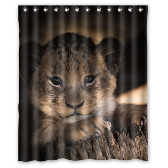 New Product Lions Cubs Shower Curtains Custom Design Creative Curtain Bathroom Waterproof Polyester Fabric