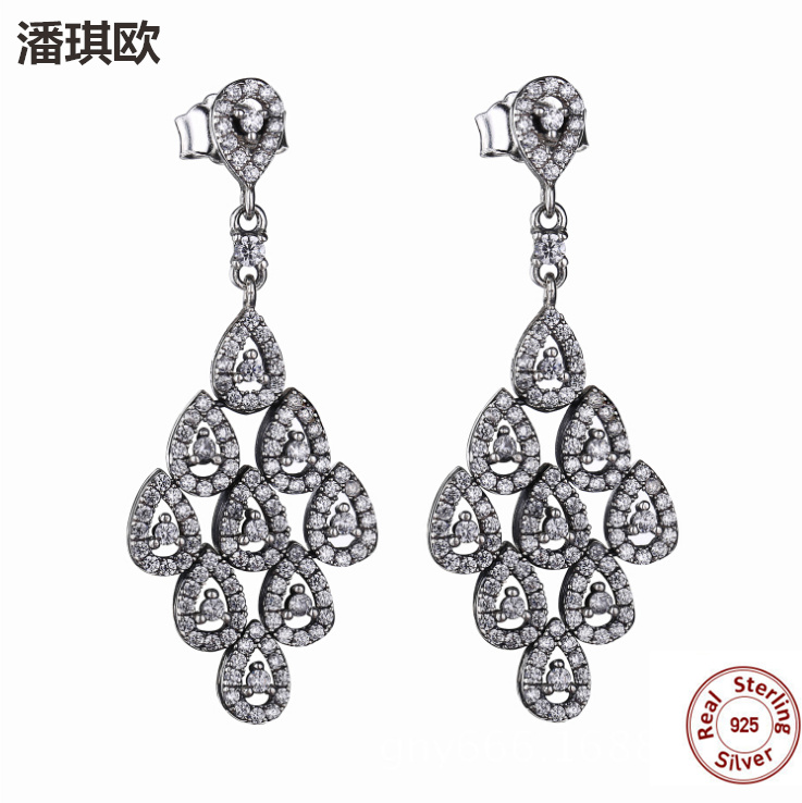 100% Authentic 925 Sterling Silver Poetic Mind Clear CZ Mickey Swarovski  Crystal Earrings Fit pan ... 0d84d84ee82e
