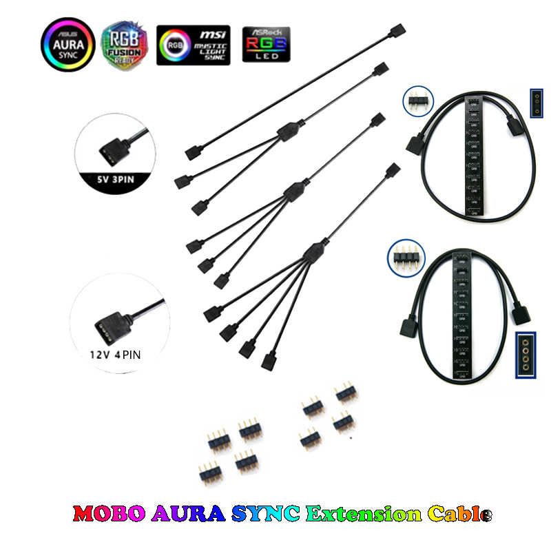 Motherboard Interface 3PIN / 4PIN AURA RGB 1-4 Interface Splitter Addressable D-RGB SYNC Hub Transfer Extension Cable