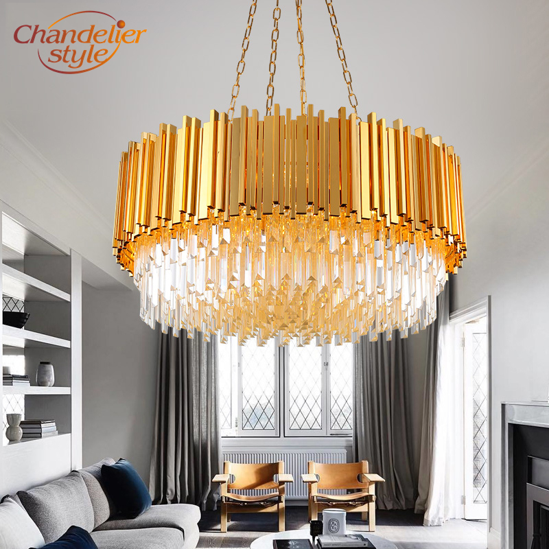Modern LED Crystal Chandelier Lighting Round Cristal Chandelier Light Boat Crystal Chandelier Lamps Indoor Lighting