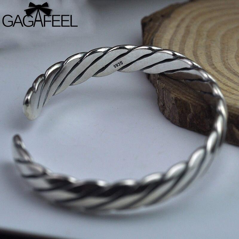 Gagafeel 925 пробы серебро ткачество браслеты для женщин 2018 тайский серебряный ручной работы тонкий браслеты цепочки подарки на день Святого Вал...