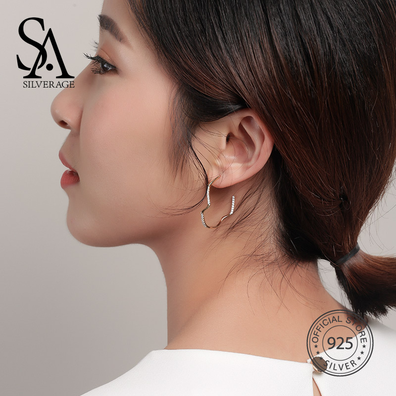 SA SILVERAGE 100% 925 Sterling Silver Sky City Lightning Gold Color Drop Earrings for Women 2018 New