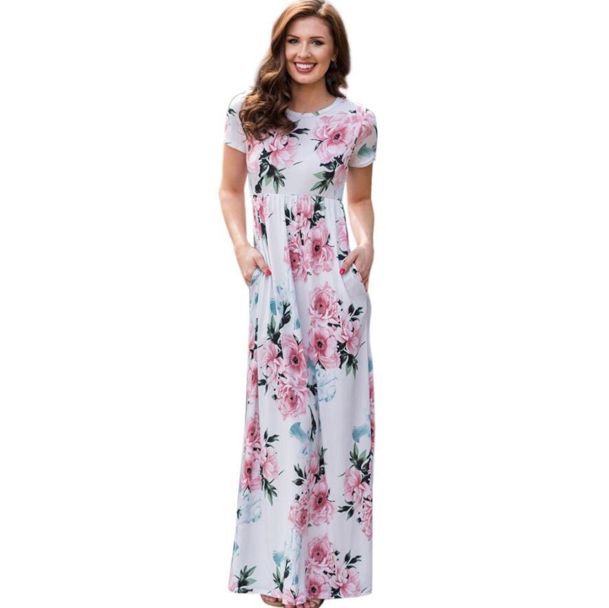 Summer Boho Beach Long Maxi Dress Women O Neck Casual Print Floral Dress Pockets Short Sleeve Floor Length Loose Dresses#21