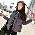 Outono Inverno Moda Estilo Europeu Mulher Magro Cinza Preto Cinza de Manga Longa Para Baixo Parkas De Algodão, Casaco Parka Para Mulher ocasional