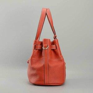 Image 4 - Zency 100% miękkie prawdziwej skóry eleganckie kobiety torba na ramię urok pomarańczowy moda Messenger Crossbody torebka z torebka na zamek
