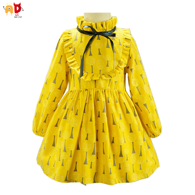 Ad 2 7y cute ruffled girls dress tree pattern cool fabric for Fabric for children s clothes
