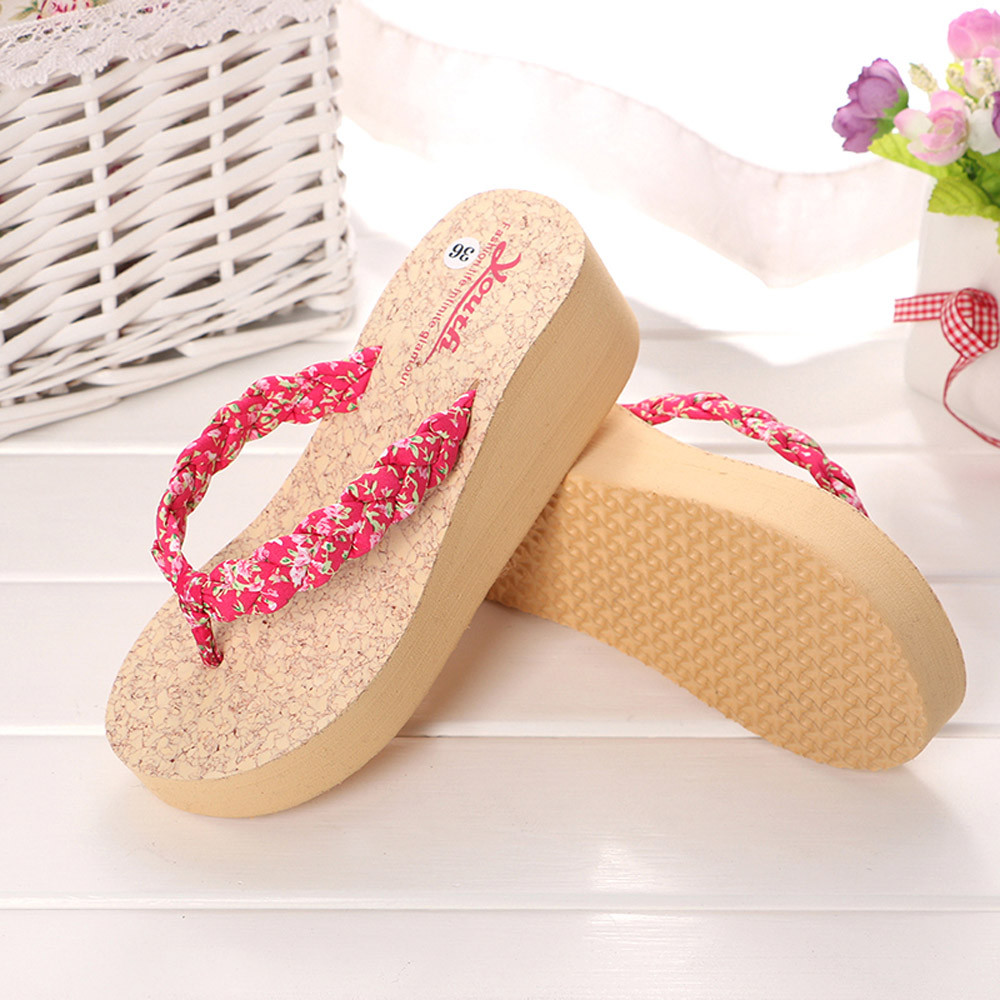 Women Leopard Flip flops Slippers Beach Sandals Summer Home Shoes 2018 Open  Toe Wedge Sandals high heeled Shoes Platform -in Slippers from Shoes on ... 01cc6cbc12a0