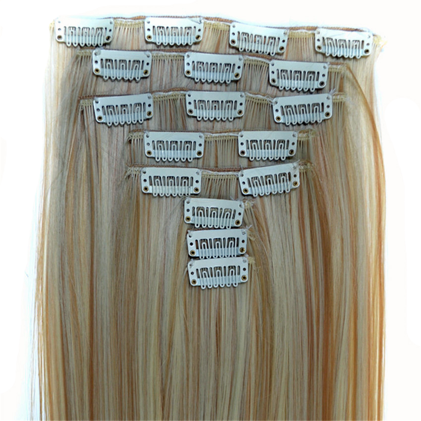 Feibin Clip In Hair Extensions Syntetiskt Hår 22inch 55cm Long Straight Hairpiece Värmebeständigt c46