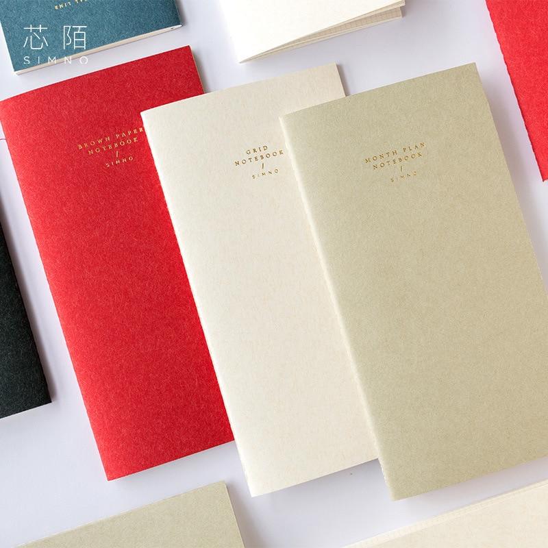 Japanese Vintage Journal Filler Paper Insert Refill For Midori Traveler Notebook Standard Portable Grid Line Kraft Blank Planner