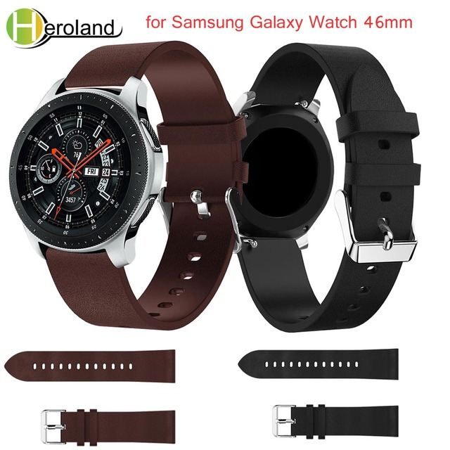 black 22mm Replacement luxury leather band Wrist for Samsung Galaxy Watch 46mm w