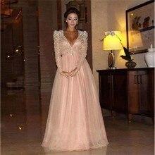 2016 abendkleid sicken perlen gewand de Soiree langen Ärmeln dubai kaftan formale kleider für Hochzeitsgesellschaft celebrity dress