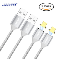 2 Pack Magnetic Micro USB Cable JianHan 1M Nylon Braided Fast Charging Micro USB Magnet Cable Charger for Samsung LG HTC Android