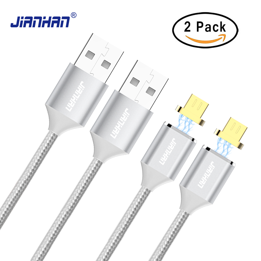 JianHan 2 Pack Magnetic Micro USB Cable Charger 1M Braided Fast Charging 2A LED Strong Magnet Cable for Samsung Android Phone remax 2 in 1 micro usb cable 1m fast charging