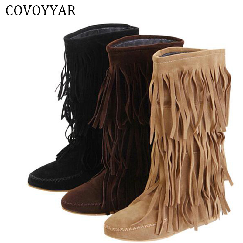 COVOYYAR Hot 3 Layers Fringe Boots 2018 Low Heel Tassel Moccasin Flat Mid-Calf Women Boots Plus Size 35~43 Drop Ship WBS16