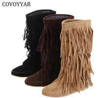 Hot 3 Layers Fringe Boots 2015 Low Heel Tassel Moccasin Flat Mid Calf Women Boots Plus