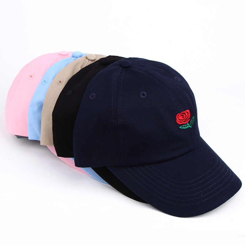 90ed0d2d8a1 ... Fashion Korean Summer Women Men Hat Rose Flower Embroidery Peaked Cap  Curved Baseball Caps Casual Hip ...