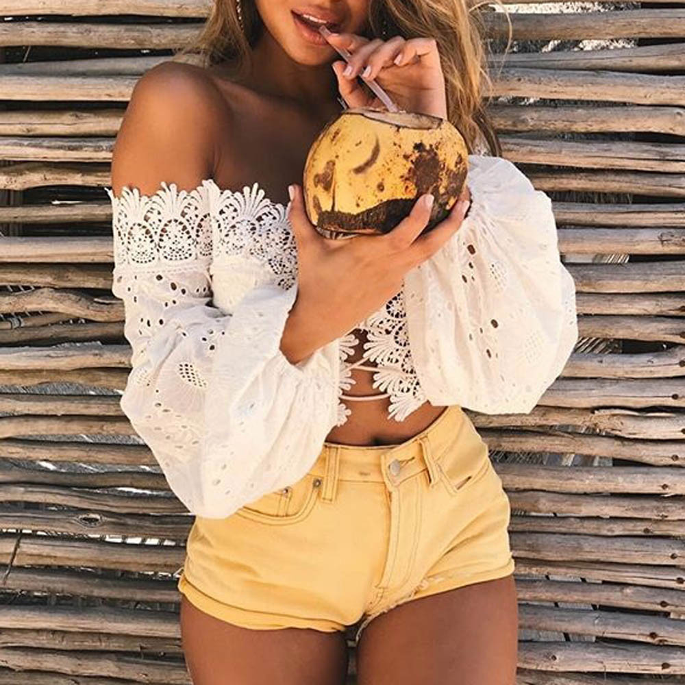 HTB1c54VbamWBuNkHFJHq6yatVXaH - Fashion Ladies Off Shoulder Lace Blouses Women Summer Long Sleeve Bandage Crop Tops Shirt Sexy Hollow-out Casual White Blouse #L