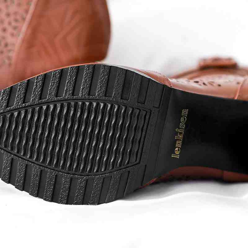 Vache marron Totem Causal Talon Haute Chaussures Noir Air Mesh Bout Streetwear L46 Nouvelle Lenkisen Pointu En D'été Cuir Concise Bottes Fleurs Gladiateur 18gw05q