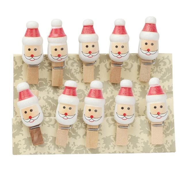 10 Pcs Pack Lovely Christmas Santa Claus Wood Paper Clips Photo