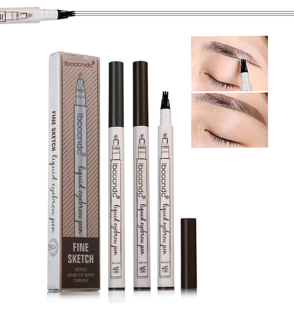 In Stock 4 Head Fine Sketch Eyebrow Pencil Waterproof Fork Tip