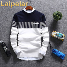 Long Sleeve Men Casual Autumn Sweater Patchwork Color Pullover Striped Laipelar Colorblock Tops