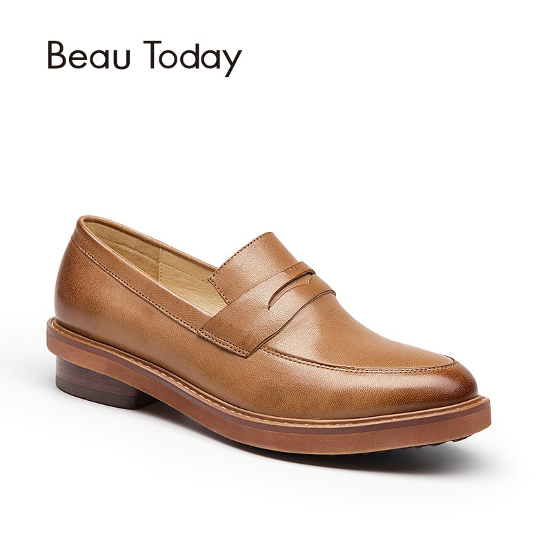 BeauToday Penny Loafers for Women Fashion Slip On Shoes Genuine Leather Waxed Sheepskin Dress Casual Handmade Ladies Flats 27030 beautoday genuine leather crystal loafer shoes women round toe slip on casual shoes sheepskin leather flats 27038