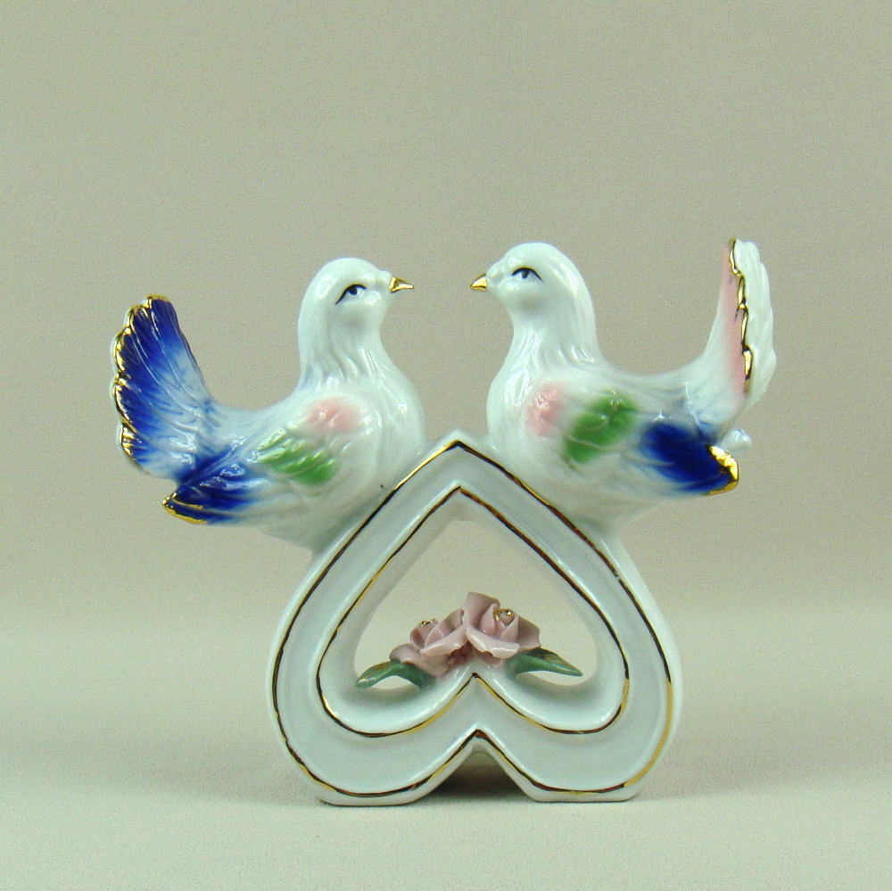 Porcelain Pigeon Couple Sculpture Glazed Ceramics Dove