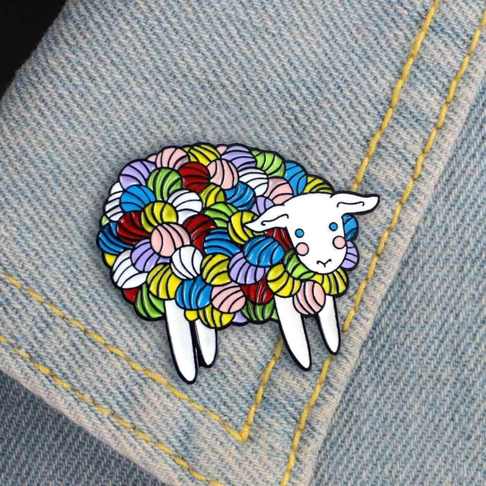 Indah Fashion Warna-warni Kartun Domba Enamel Kerah Pin Lencana Bros Denim Perhiasan