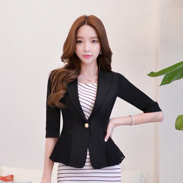 a21035de416f 1pcs Women Plus size jacket and blazers 2017 Summer Cotton blended Slim fit  small Suit Jackets ladies Skinny short blazers Girls