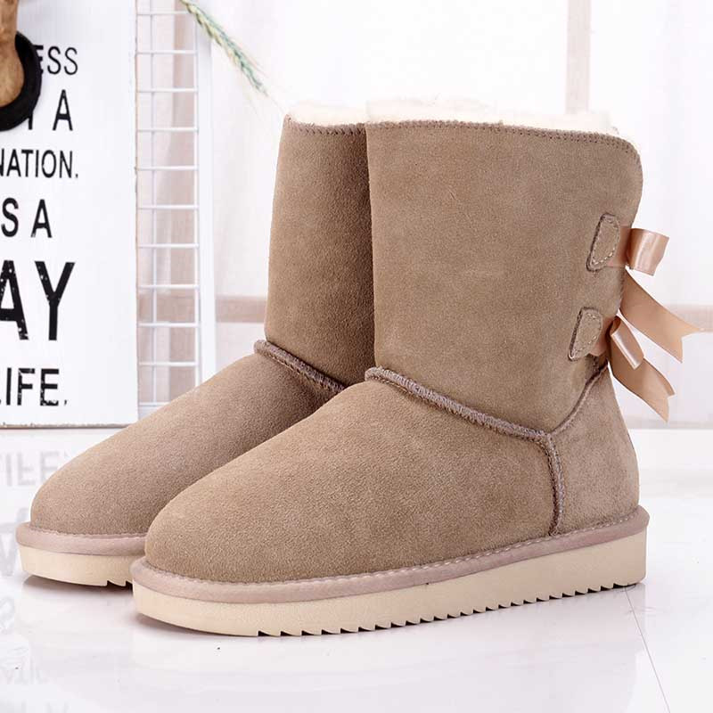 Brand Shoes Women Classic Waterproof Genuine Cowhide Leather Snow Boots Women Boots Warm Winter Boots for Women Shoes image