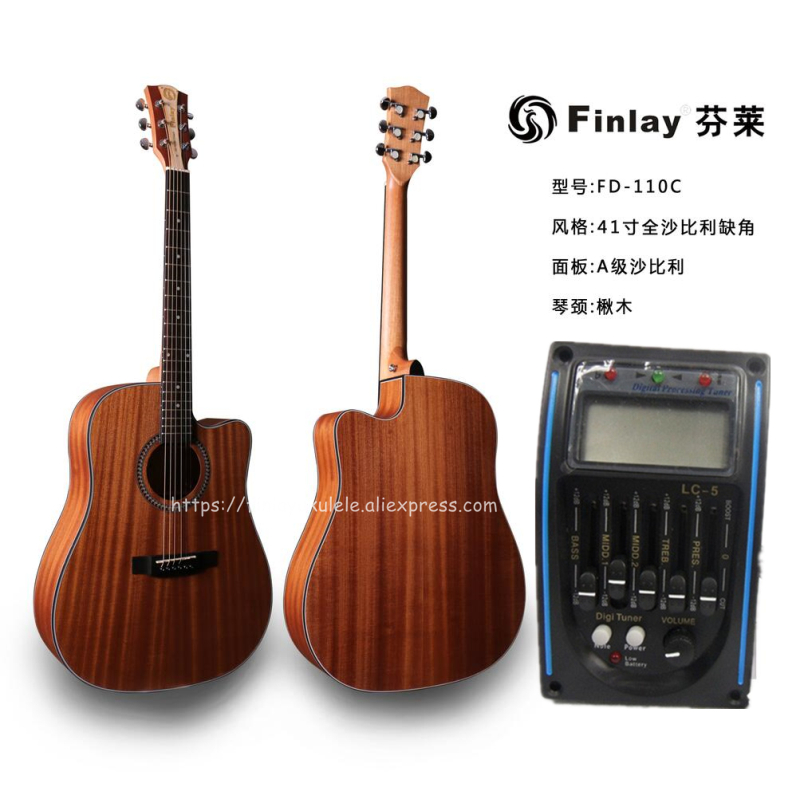 finlay high end 41 cutaway electric acoustic guitar with pickup full mahogany top body guitarra. Black Bedroom Furniture Sets. Home Design Ideas