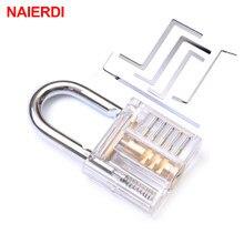 NAIERDI – Mini serrure à cadenas transparente et Visible avec clé cassée, outil d'extraction de crochet, clé de serrurier