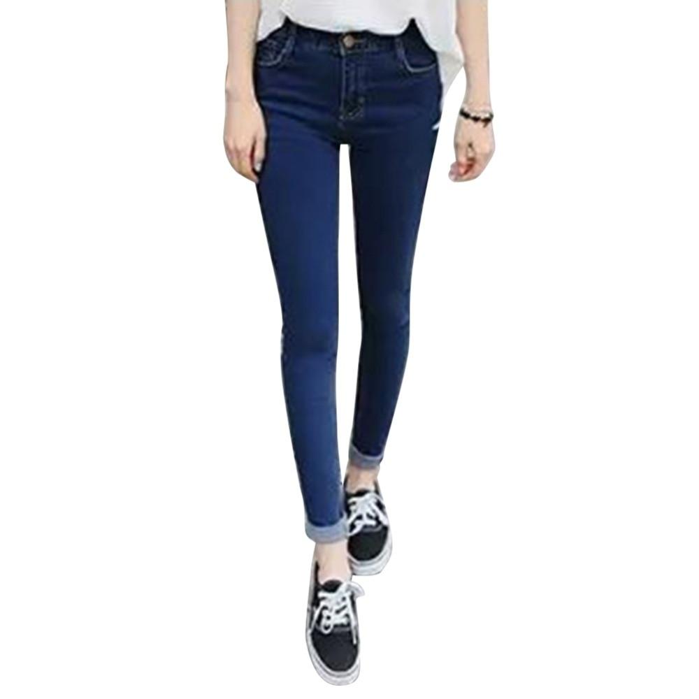 Trendy Women Girls High Waist Denim Jeans Trousers Slim Skinny Pencil Pants XS-XXXL women spring summer elastic waist jeans 2017 large size high quality slim type denim trousers female new pockets denim pants