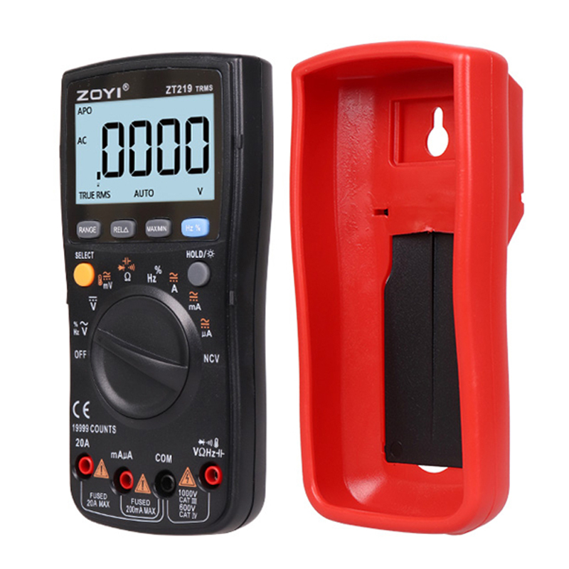 Counts Range Auto Power True AC Multimeter Frequency NCV Digital 19999 Auto Voltage Current DC RMS Ammeter Ohm ZT219 Off