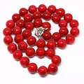 12mm synthetic artificial red coral round beads necklace for anniversary trendy party elegant gifts jewerly 18inch B1467-2