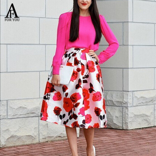 Aliexpress.com : Buy Hight Waist skirts womens Satin Skirts Floral ...