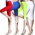 Plus size 6 XLCropped Algodão Leggings 3/4 calças na altura do joelho calças legging térmico das mulheres calças Capris casuais Calças Lápis