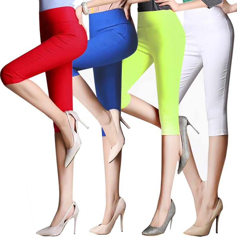 plus size 6XLCropped Cotton Leggings 3/4 pants knee length legging thermal breeches womens trousers casual Capris Pencil Pants