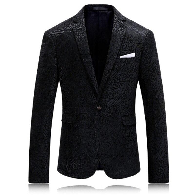 Olid negro chaqueta estampada de hombre de moda de hombre ropa fiesta etapa trajes para los cantantes Slim Fit abrigo blazer de hombre M 4XL